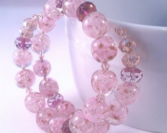 Pink and Gold Murano Glass Czech Glass Swarovski Crystal  Memory Wire Bracelet