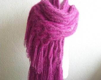Women Purple Scarf, Rectriangle Shawl, Neckwarmer, Scarf,Knitted Shawl, purple, lilac, cozy scarf , scarves