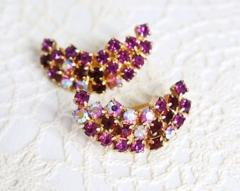 Vintage Crystal Clip On Earrings Ruby Red Crescent Earrings