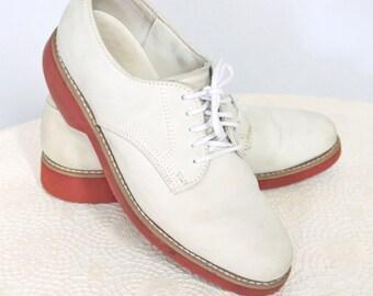 Men's Vintage Shoes 1980's Dexter Nubuck Preppy Rubber Sole Oxford Tie Shoes Size Men's 8M