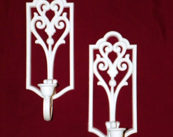 1970's Pair of Homco SOLID White Candle Sconces