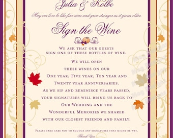 Fall Wedding - Sign the Wine Sign - Reception Signs for Weddings and Special Events