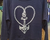 "Nautical Rope Heart ANCHOR Raglan Slouchy ""Sweatshirt"" American Apparel Tri-Blend Indigo Blue  S or L"