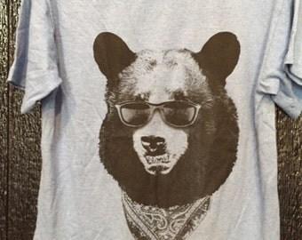 California Gangster Bear wearing Sunglasses T-Shirt 100% Cotton Kids  L