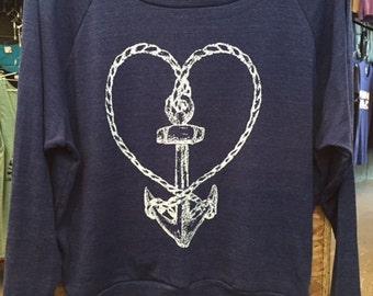 "Nautical Rope Heart ANCHOR Raglan Slouchy ""Sweatshirt"" American Apparel Tri-Blend Indigo Blue  S or L"