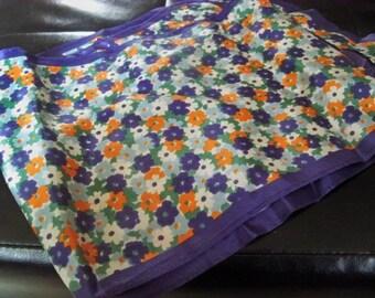 wonderful long silky flowered vintage scarf