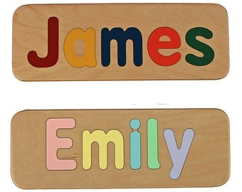 Name Puzzle - Hand Made - Custom - Personalized - Wood Name Puzzle - Mixed Case Letters Only - Raised Letters
