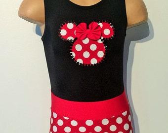 Black/Red Polk-a Dot Gymnastics Dance Leotard with Minnie Mouse Applique Size 2T through Girls 10