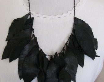 Beautiful Black Super Soft Leather Feather Style Necklace and Earrings Set (#10)