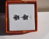 Atomic Starburst Stud Earring Set in Sparkling Silver- Vintage Cabochons!
