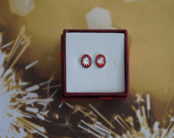 Red Hot Red! Starburst Stud Earring Set in Red and Silver- Vintage Mid Century Cabochons