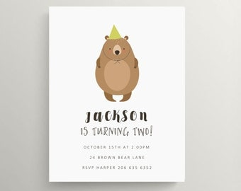 big brown bear birthday invitation set  //  baby shower  invitation // teddy // forest animal // woodland // animal // thank you note