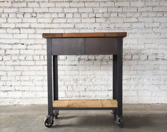 Industrial Kitchen Island with Casters