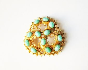 Turquoise knot brooch: Exquisite mid-century brass and turquoise glass Victorian-meets-medieval style knot shaped costume pin brooch