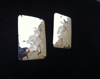 Large Shiny vintage hammered silver earrings