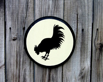 Rooster Sign, Painted Wood, Chicken, Rooster Silhouette, Kitchen Sign, Rustic, Farmhouse, French Country, Round Sign, Antique White, Black