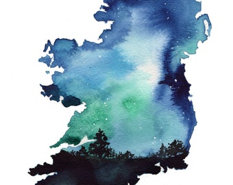 Starry night in Ireland, print from original watercolor illustration by Jessica Durrant