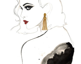 The Tassel Earring, print from original watercolor and pen fashion illustration by Jessica Durrant