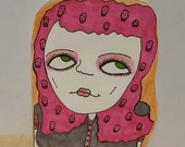 Punk rock, girl, post card,original,hand drawn,art,illustration,cute,pretty,rock and roll,mail,letter,friend