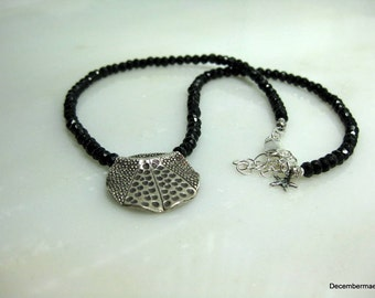 Black Spinel Necklace with Hill Tribe Silver Pendant