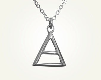 Triangle Necklace, Triangle Pendant, Silver Triangle Necklace, Aquarius Necklace, Libra Necklace, Gemini Necklace, AIR ALCHEMY CHARM.