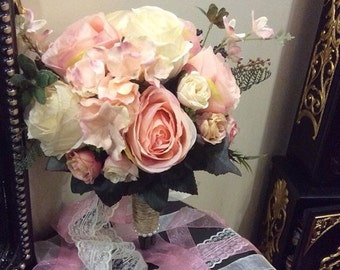 Wedding Bouquet, Wedding Flowers Mini Rose Bouquet Orange, Ivory Peony Mums