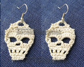 PDF Crochet Skull Pattern, Skull Earrings, Tutorial Diagrams, DIY Crochet, Skull Accessories,