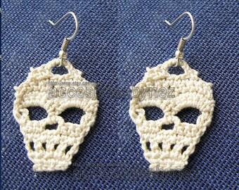PDF Crochet Skull Pattern, Skull Earrings, Tutorial Diagrams, DIY Crochet, Skull Accessories,