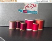 50% OFF Sale 6 Beautifu Vintage Red Orange Pink Magenta Purple Hombre Analogous Shades Thread Spools