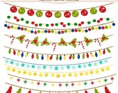 ON SALE Christmas clip art, Christmas bunting clip art, christmas banner, clip art, digital clipart,instant download