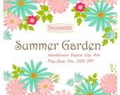 ON SALE Flowers clip art, Summer garden clip art,Floral clip art,flower bunches clip art,wedding flowers clip art, INSTANT Download