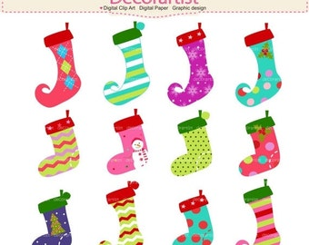 ON SALE christmas clipart ,Christmas Socks clipart,Christmas stockings clipart, Shabby Chic christmas clipart, Download and print PNG Fil