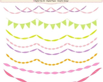 ON SALE Digital clipart ,Flag banner bunting , bunting clipart,INSTANT Download , purple bunting
