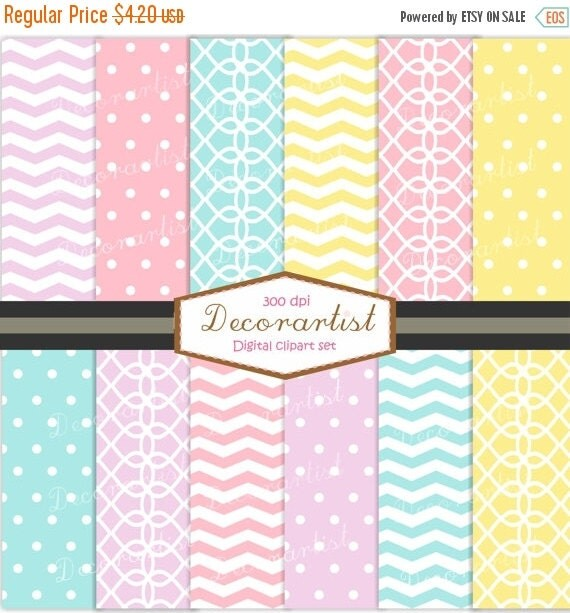 ON SALE Digital paper chevron and polka dots, scrapbooking, paper ,SUMMER No-68, pink blue yellow lilac , instant download digital paper
