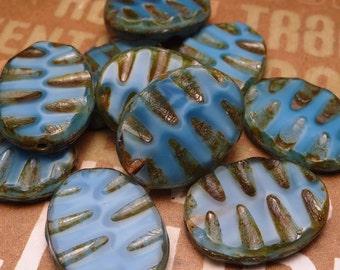 Blue Satin Oval Glass Beads 18x13mm - 4pc