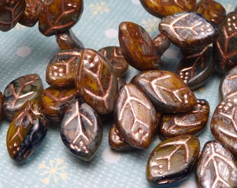 Midnight Falling Leaves with COPPER - Glass Beads 10pc