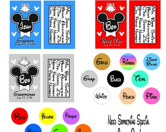 Disney Wedding Party Luggage Tags - GROOM Best Man GROOMSMEN  Luggage Tags - Shower Gift - Your Choice of Colors