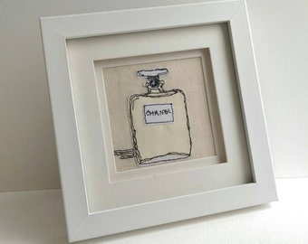 Chanel Perfume Bottle Freehand Machine Embroidery Framed Art
