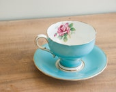 Vintage Paragon Bone China Turquoise Rose Tea cup Teacup Gold H.M. the Queen 1950s