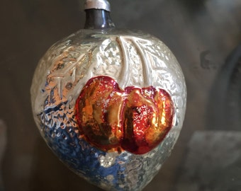 Antique glass ornament of cherries