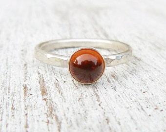 Natural Amber Ring - Sterling Silver Gemstone Ring - Stacking Ring - Amber Gemstone Ring - Jewelry for women