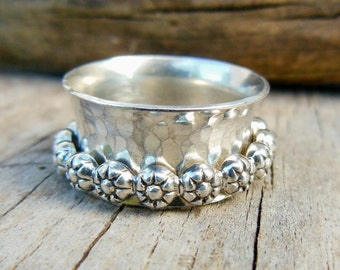 Sterling Silver Spinner Ring, Floral Spinner, Busy Ring, Fidget Ring For Women,