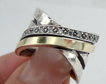 Free Shipping, 925 sterling Silver and 9k yellow gold ring, glittery CZ ring,  Wedding ring, wide band, size 8 (ms r1270)