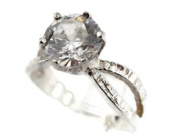 Halo ring, Brilliant Ring, Promise Ring  925 Silver Ring , CZ Silver Ring size 7, Delicate ring, Crystal ring, Solitaire Ring, Wedding Ring