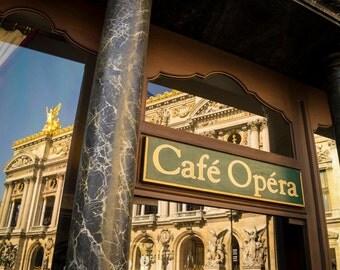 Photo of Garnier Opera Center in Paris reflected in cafe window Restaurant Paris Architecture France Print par117