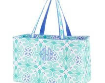 Monogrammed Aqua and Periwinkle Sea Tile Ultimate Tote; Perfect for Sporting Events, Pool Bags, & Vacations