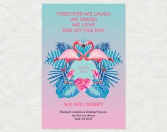 tropical wedding save the date printable file - fabulous flamingos - floral flowers pink beach destination birds palm hibiscus fun postcard
