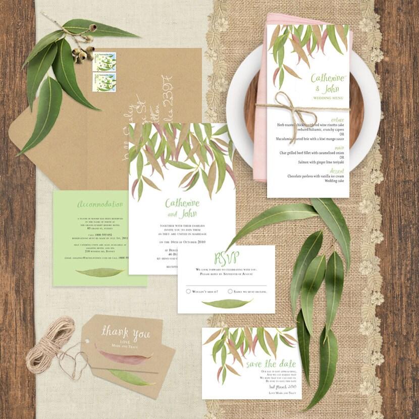 Gum Leaf Printable Wedding Invitation Suite Forest Bush