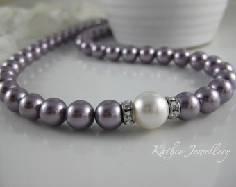 Kate- Mauve and  White pearl Necklace Swarovski Mauve  pearl Necklace Bridesmaids pearl Strand Bridal necklace.