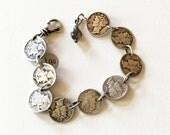 Vintage Silver Mercury Dime Bracelet
